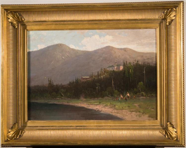 FREDERICK FERDINAND SCHAFER, (American, 1839-1927), ON THE COLUMBIA RIVER, ca. 1890, oil on canvas, 14 x 20 in. (replacement gilt fr...