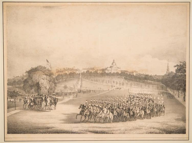 FITZ HENRY LANE, (American, 1804-1865), THE NATIONAL LANCERS WITH THE REVIEWING OFFICERS ON THE BOSTON COMMON, 1837, plate: 14 1/2 x...