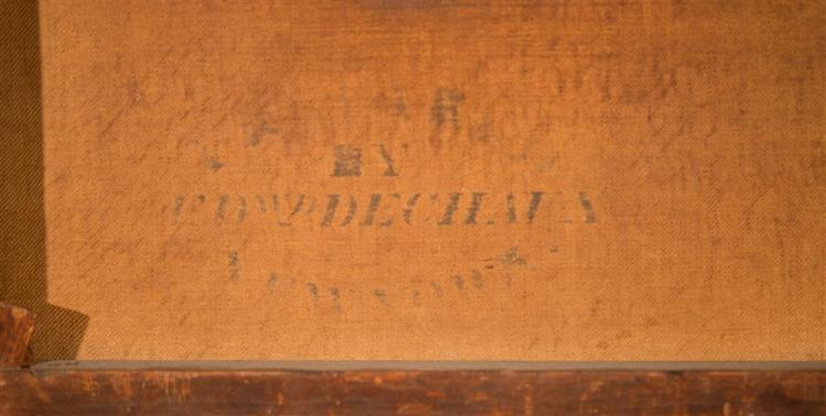 JOHN WHETTEN EHNINGER, (American, 1827-1889), SUNDAY RIDE, 1858, oil on canvas, 18 x 15 in. (original period frame: 23 1/2 x 20 in.)
