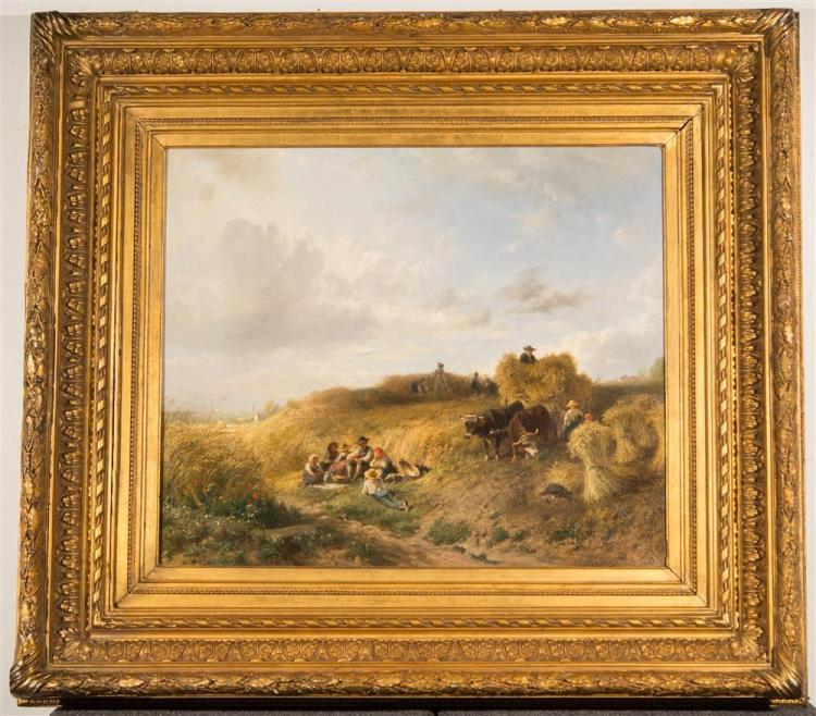 ALBERT KAPPIS, (German, 1836-1914), HARVEST LUNCH, ca. 1878, oil on canvas, 23 x 27 in. (period composite frame: 35 x 39 in.)