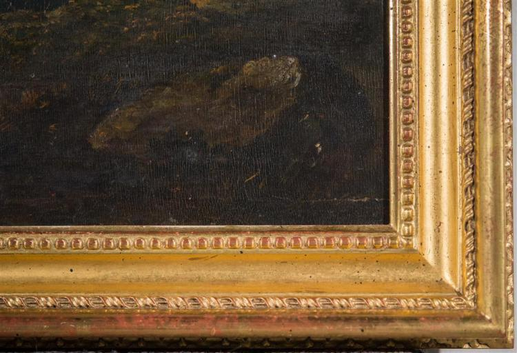 PHILIP REINAGLE, (English, 1749-1833), POINTER, oil on board, 12 x 17 1/2 in. (replacement gilt frame: 17 x 22 3/4 in.)