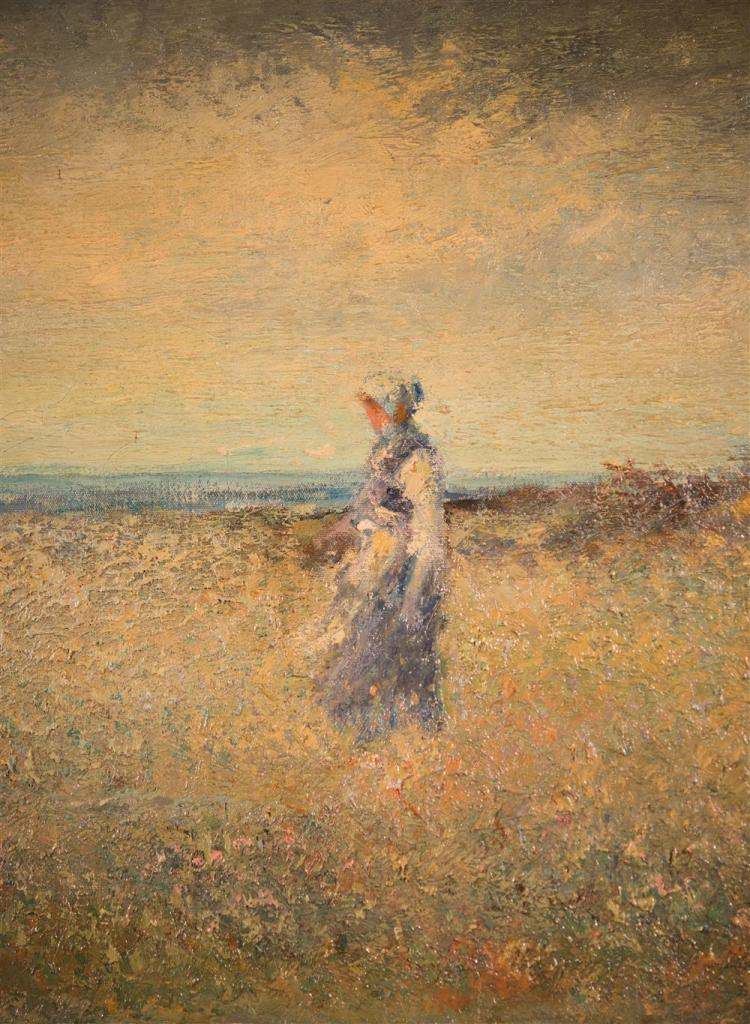 ERNEST ARCHIBALD TAYLOR, (British, 1874-1952), GRAZING BY THE FRENCH COAST, 1918, oil on canvas, 24 x 54 in.