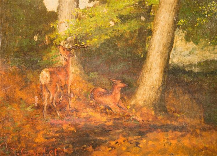 ATTRIBUTED TO GUSTAVE COURBET, (French, 1819-1877), DEER IN THE FOREST, ca. 1875, oil on canvas, 12 x 14 in. (replacement gilt frame...