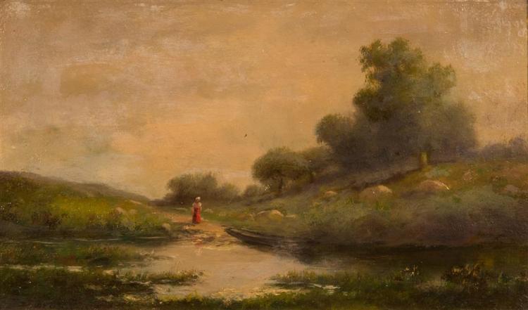 CHARLES FRANCOIS DAUBIGNY, (American/French, 1817-1878), LADY ON A RIVERBANK, ca. 1870, oil on board, 7 x 11 1/2 in. (gilt frame: 10...