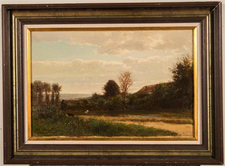 EMILE CHARLES LAMBINET, (French, 1815-1877), ALONG THE RIVER'S EDGE, ca. 1870, oil on canvas, 12 x 18 in. (frame: 17 1/2 x 23 3/4 in...