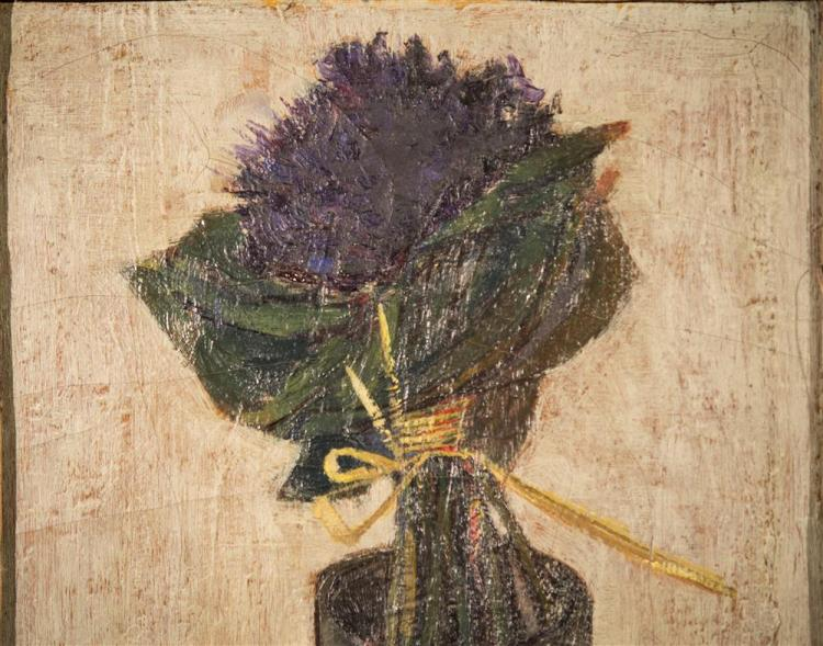 ANDRE SEGOVIA, (Argentinian/Spanish, 1929-1996), FLORAL STILL LIFE, ca. 1950, oil on canvas, 16 x 10 1/4 in. (original period frame:...