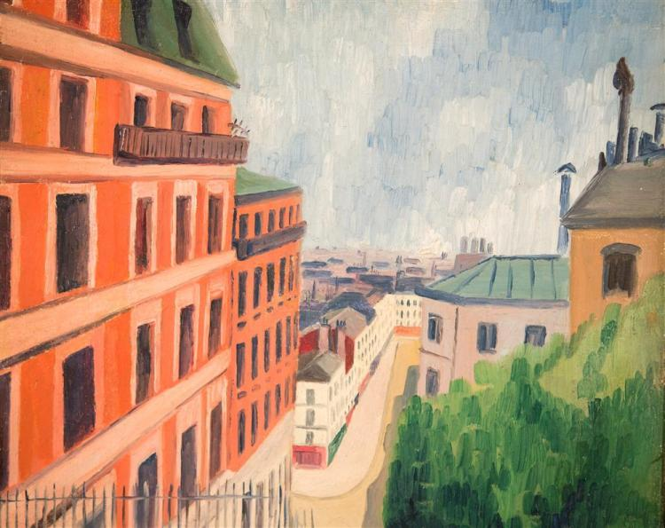 ELISEE MACLET, (French, 1881-1962), RUE MUELLER, PARIS, ca. 1935, oil on canvas, 14 x 9 1/2 in. (frame: 18 x 14 in.)