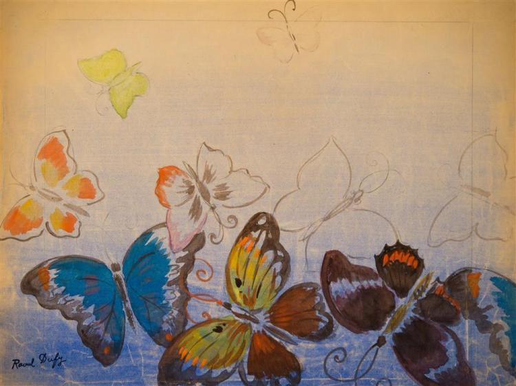 RAOUL DUFY, (French, 1877-1953), BUTTERFLIES, ca. 1940, watercolor and ink on paper, 18 x 24 in.