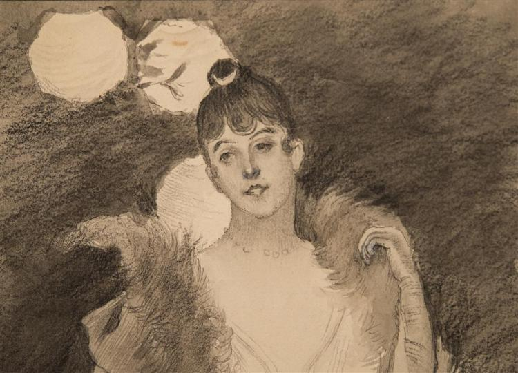 ERNEST ANGE DUEZ, (French, 1846-1896), PARTY NIGHT, ca. 1880, pencil and wash on paperboard, 10 1/4 x 6 in.