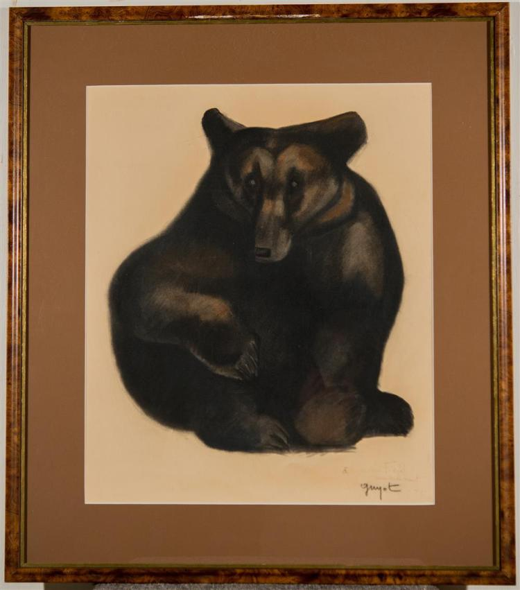 GEORGE LUCIEN GUYOT, (French, 1885-1973), BLACK BEAR, 1967, colored pencil, charcoal, and estompe on paper, sight: 23 x 19 in. (fram...