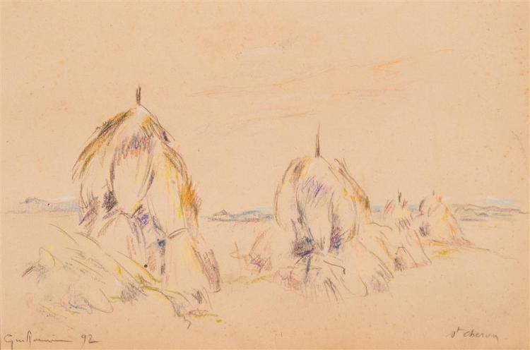 JEAN-BAPTISTE ARMAND GUILLAUMIN, (French, 1841-1927), HAYSTACKS, ST. CHERON, 1892, pencil and crayon on paper, sheet: 10 1/4 x 13 3/...