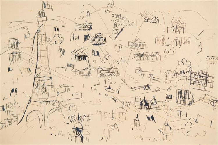 RAOUL DUFY, (French, 1877-1953), PANORAMA OF PARIS, 1944, pencil and ink on paper, sight: 8 1/2 x 12 1/2 in. (frame: 20 x 24 in.)