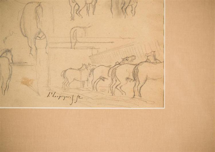 HENRI-JOSEPH HARPIGNIES, (French 1819-1916), EQUINE STUDY, 1852, pencil on paper, sight: 10 1/2 x 6 1/4 in. (frame: 19 3/4 x 25 1/4...