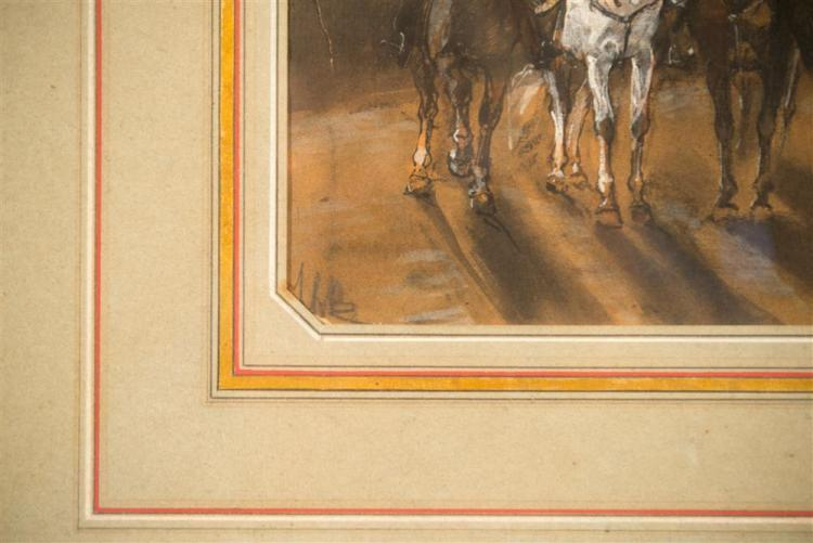 JOHN LEWIS BROWN, (British, 1829-1890), CAVALRY, gouache on paper, sight: 8 x 6 in. (frame: 20 x 16 1/2 in.)