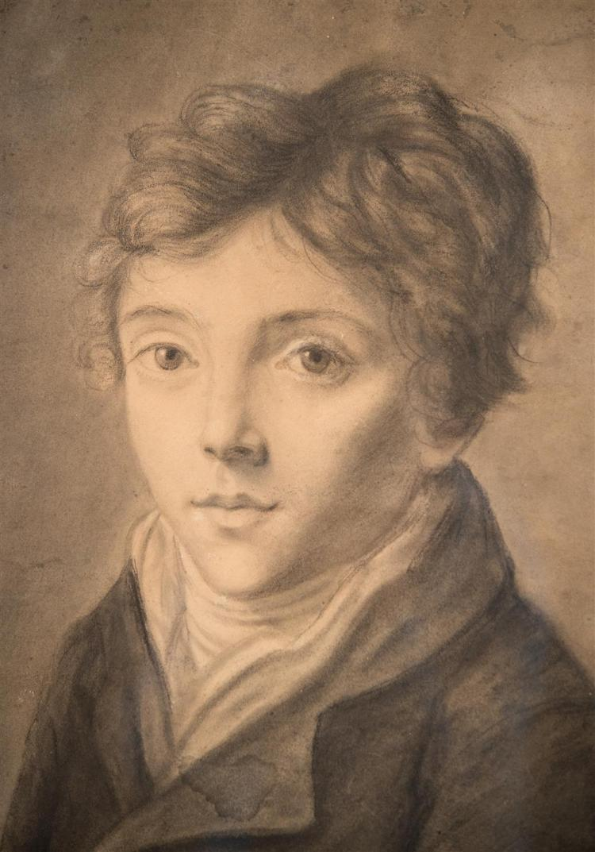 EUROPEAN SCHOOL , (19th century), PORTRAIT OF A BOY, ca. 1870, pencil on paper, sight: 14 x 12 in. (period frame: 20 1/2 x 18 1/2 in...