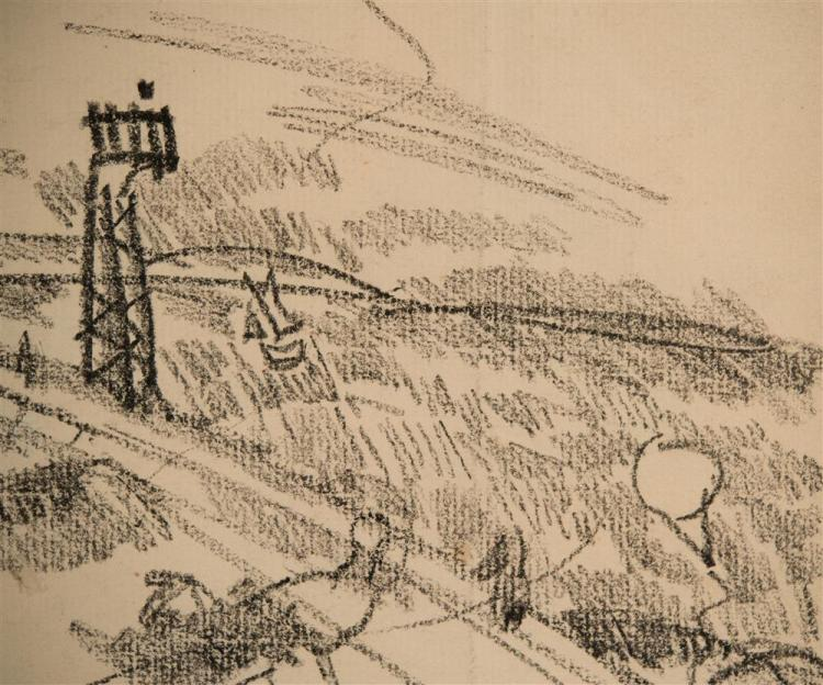 RAOUL DUFY, (French, 1877-1953), KITES, ca. 1910, charcoal on paper, sight: 8 1/2 x 11 in. (frame: 20 1/2 x 22 1/2 in.)