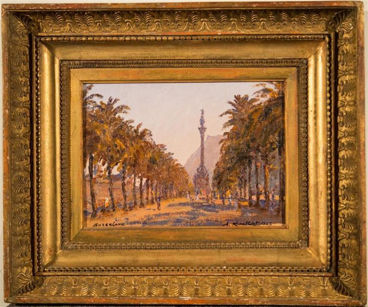 ALEXANDRE ROUBTZOFF, (Russian, 1884-1949), BARCELONA, 1923, oil on canvas laid on board, 8 1/4 x 11 1/4 in. (original composite fram...