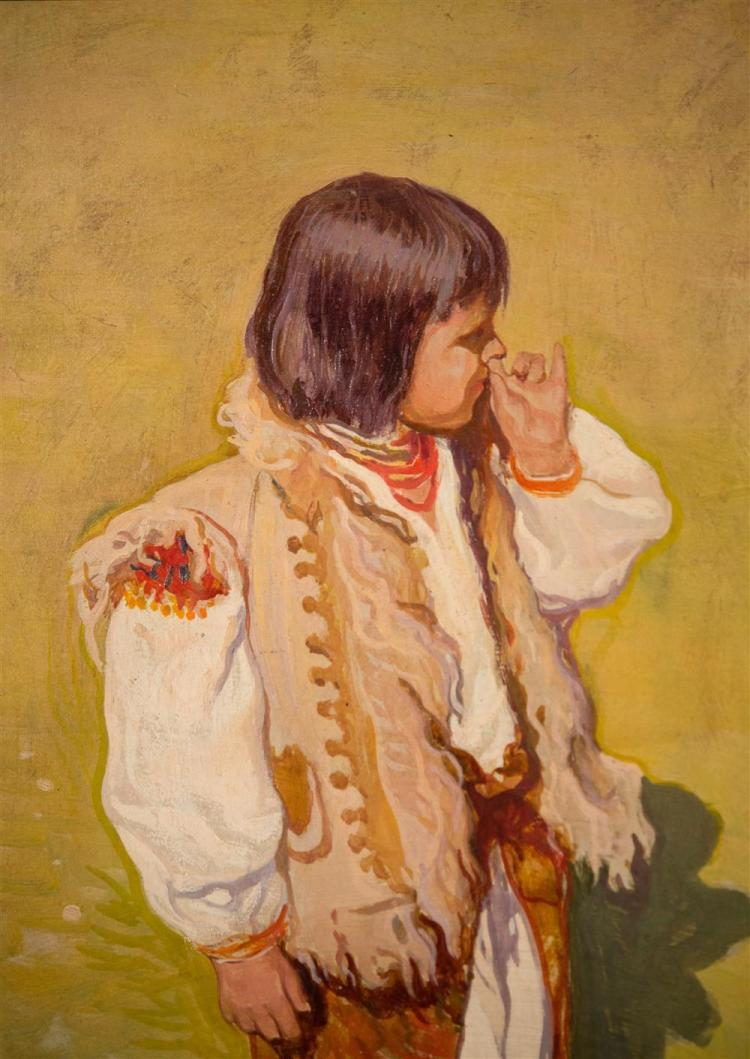 IWAN TRUSZ, (Russian, 1869-1940/1), YOUNG BOY AT THE HIHALKY, UKRAINE, ca. 1920, oil on board, 14 x 11 in. (period frame: 23 x 20 in...