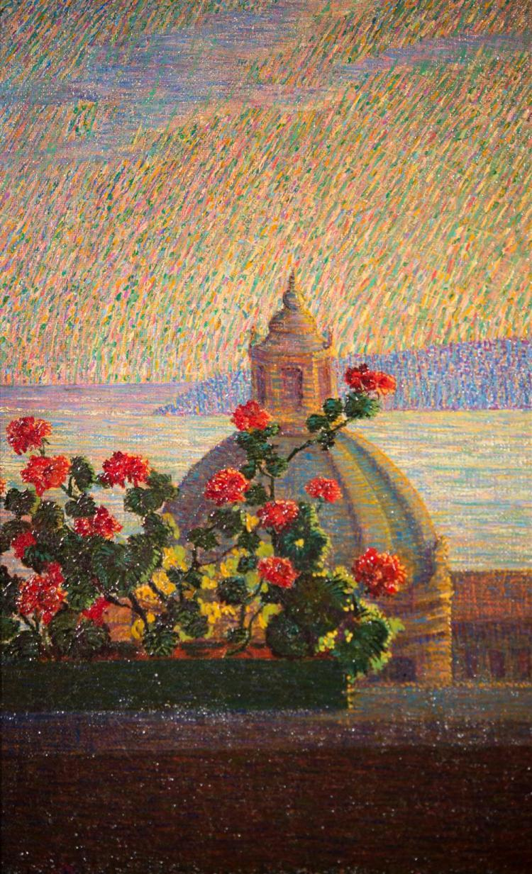 ITALIAN SCHOOL , (20th century), SUNSET VIEW, 1925, oil on canvas, 15 x 18 in. (frame: 18 1/2 x 21 1/2 in.)