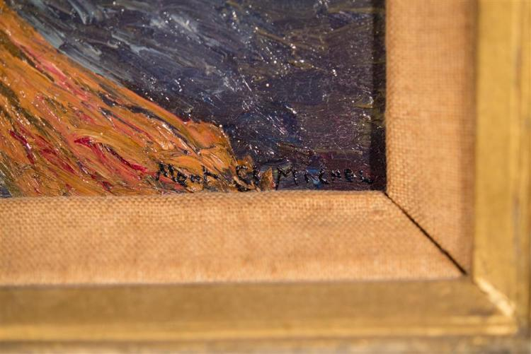 HENRY VALENSI, (French, 1883-1960), MONT SAINT-MICHEL, 1917, oil on board, 7 x 9 in. (hand carved mid-century Japanese frame: 14 1/2...