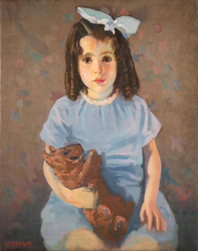 GEORGE COLLIE, (Irish/English, 1904-1975), GIRL WITH STUFFED ANIMAL, ca. 1940, oil on canvas, 29 1/2 x 24 in.