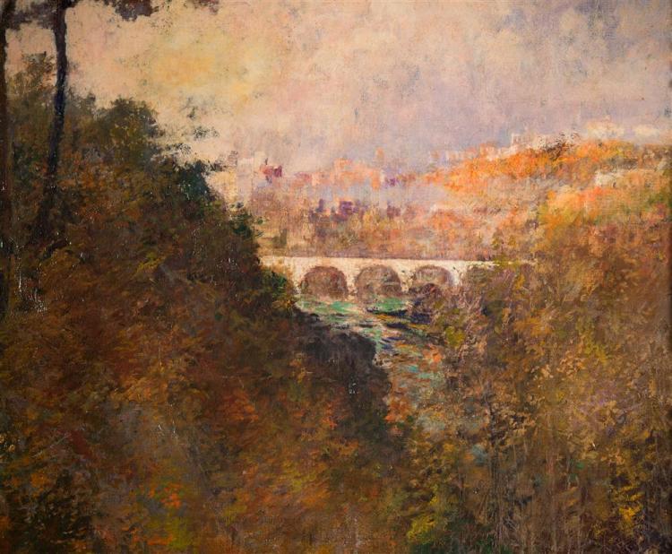 PHILIP LITTLE, (American, 1857-1942), THE WHITE BRIDGE, ca. 1913, oil on canvas, 36 x 36 in. (original hand-carved Newcomb-Macklin f...