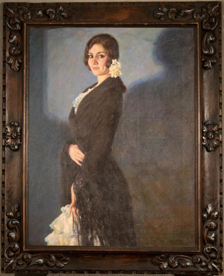 FRANCIS LUIS MORA, (American, 1874-1940), PORTRAIT OF A LADY, ca. 1910, oil on canvas, 33 x 25 in. (hand-carved 18/19th century Span...