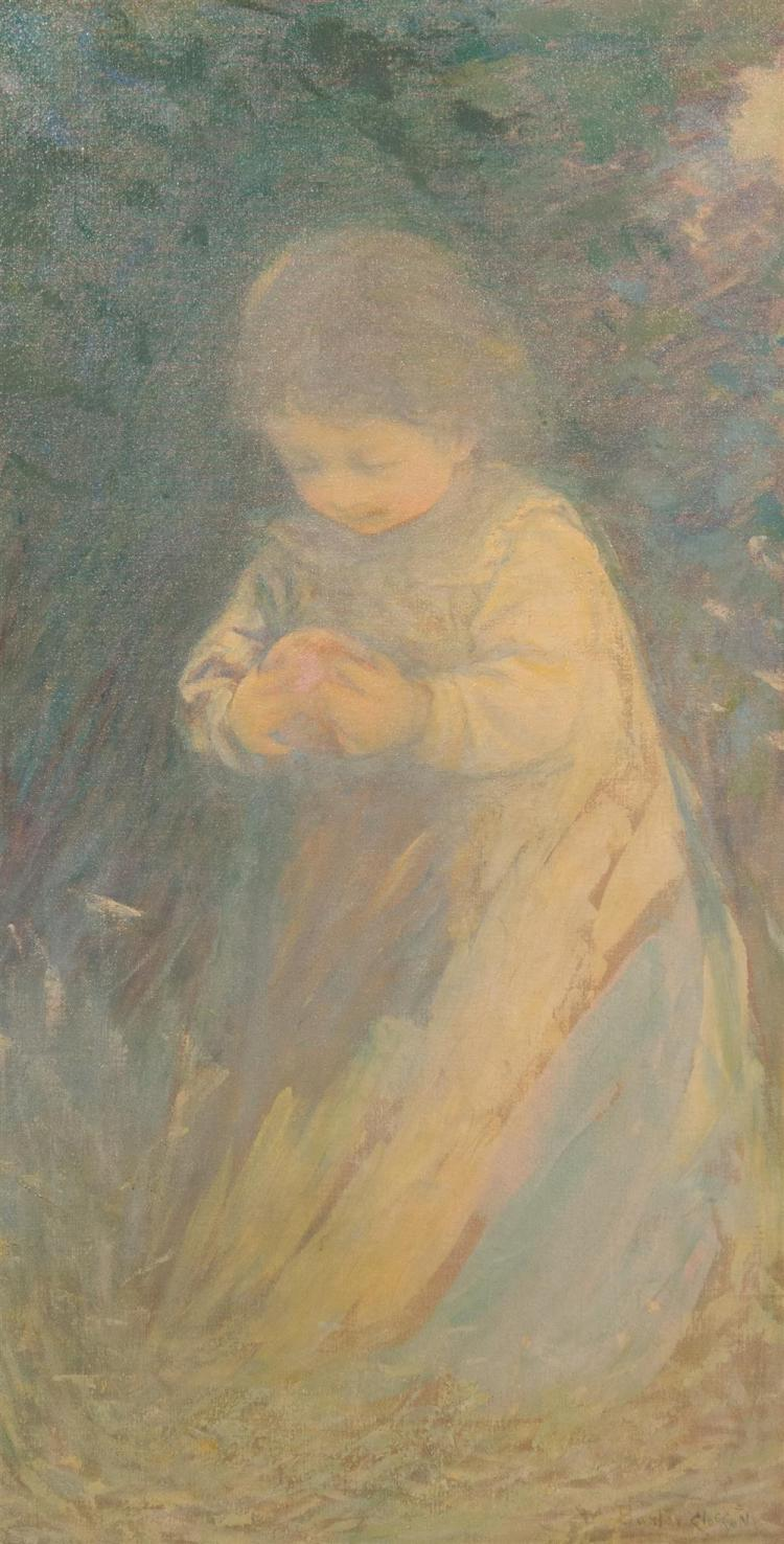 WILLIAM BAXTER PALMER CLOSSON, (American, 1848-1926), THE ONE WHO FOUND THE APPLE, ca. 1900, oil on canvas, 38 x 20 in. (replacement...