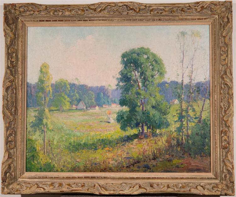 B.C. TAYLOR, (American, 20th century), LANDSCAPE WITH A LADY, ca. 1920, oil on canvas, 24 x 30 in. (hand carved period frame: 30 1/2...