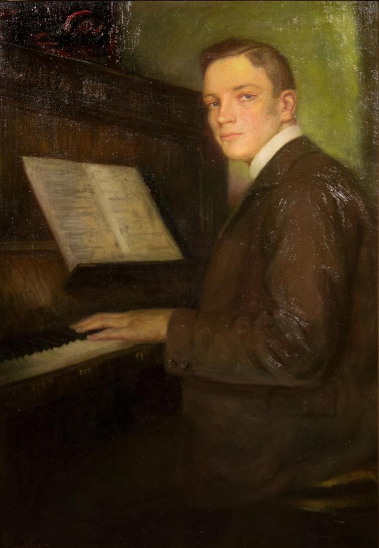 JOSEPH CHRISTIAN LEYENDECKER, (American 1874-1951), YOUNG MAN AT THE PIANO, ca. 1918, oil on canvas, 40 x 28 in. (period Heydenryk f...