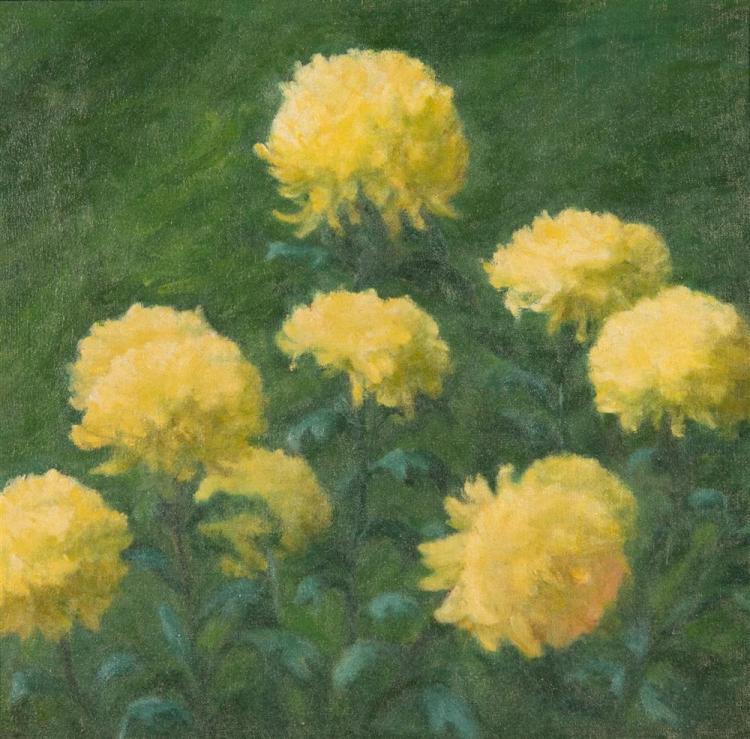 BOSTON SCHOOL , (late 19th/early 20th century), YELLOW DAHLIAS, ca. 1900, oil on canvas, 16 1/2 x 17 in. (original frame: 22 x 22 1/...