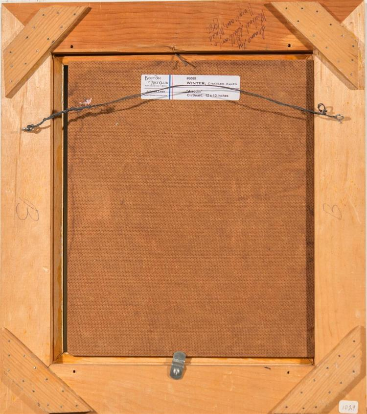 CHARLES ALLEN WINTER, (American, 1869-1942), ALADDIN, ca. 1925, oil on masonite, 12 x 10 in. (gold liner: 16 3/4 x 14 2/4 in.)