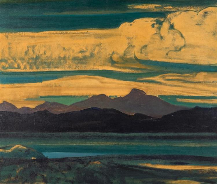 HOWARD EVERETT GILES, (American, 1876-1955), GREEN AND GOLD, 1928, oil on canvas, 30 x 36 in. (hand carved original frame: 35 x 41 i...