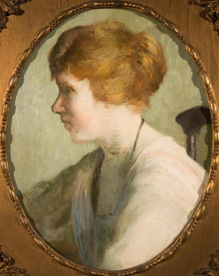 BOSTON SCHOOL , (early 20th century), PORTRAIT OF A LADY, ca. 1910, oil on canvas laid on board, oval: 19 1/2 x 15 1/2 in. (frame: 2...