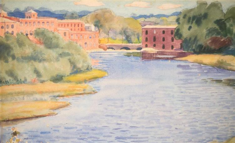 WILLIAM MCGREGOR PAXTON, (American 1969-1941), RIVER SCENE, ca. 1920, watercolor on paper, sight: 13 x 19 in. (frame: 22 x 28 in.)
