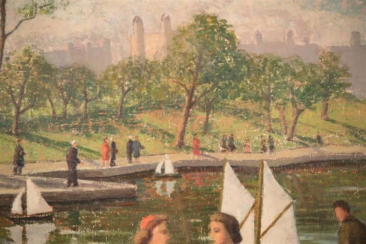 EMMA FORDYCE MACRAE, (American, 1887-1974), SUNDAY IN THE PARK, ca. 1940, oil on canvas laid on board, 22 x 28 in.