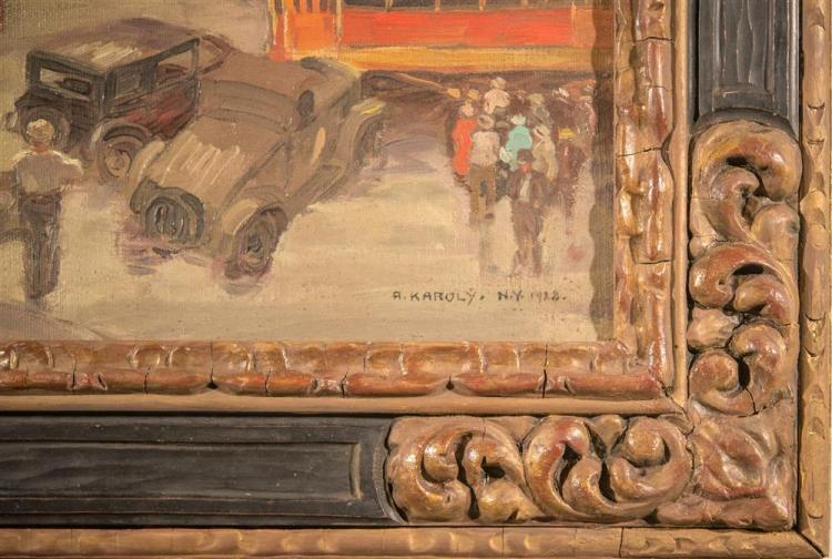 ANDREW KAROLY, (American, 20th century), COLUMBUS CIRCLE, 1928, oil on canvas, 25 x 30 in. (period hand carved Newcomb-Macklin frame...