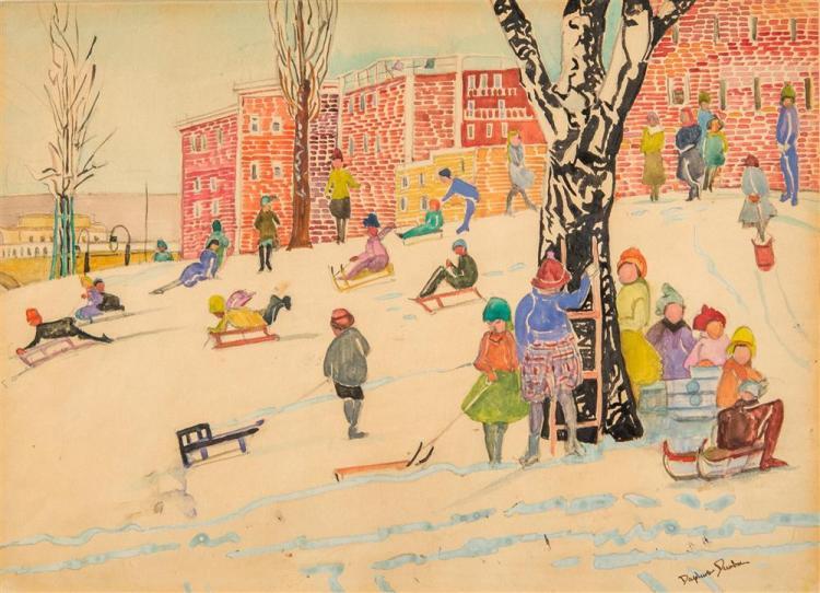 DAPHNE FRENCH DUNBAR, (American, 20th century), SLEDDING, BEACON HILL, BOSTON, ca. 1920, mixed media, 9 1/2 x 13 in. (frame: 19 1/2...