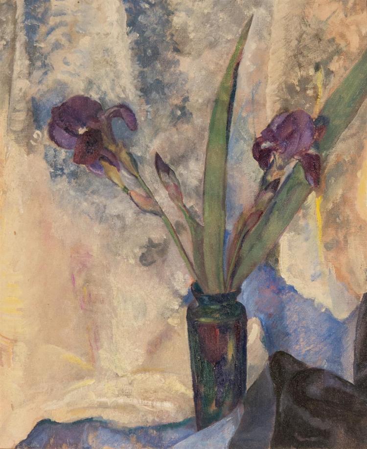 IMOGENE ROBISHOLD, (American, 20th century), PURPLE IRISES, ca. 1925, oil on canvas, 18 x 16 in. (original frame: 22 1/2 x 19 1/2 in...