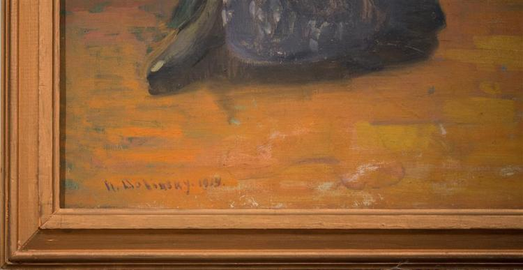 NATHAN DOLINSKY, (Russian/American, 1890-1980), GIRL WITH BRASS POT, 1914, oil on canvas, 40 1/2 x 20 in. (original frame: 44 x 24 i...