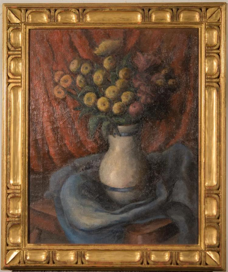 ARTHUR ROSSKAM ABRAMS, (American, 1909-1981), THE WHITE VASE, 1934, oil on canvas, 20 x 16 in. (replacement gilt frame: 24 1/2 x 20...