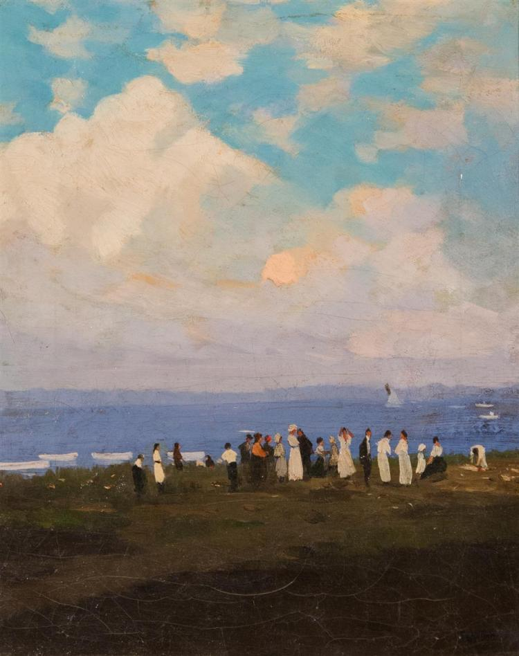 THOMAS SIDNEY MORAN, (American, fl. 1880-1910), GATHERING BY THE SEA, ca. 1900, oil on canvas, 16 x 13 in. (replacement hand carved...