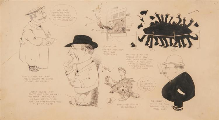 RUBE LUCIUS GOLDBERG, (American, 1883-1970), THE STOCK MARKET, ca. 1928, pencil and ink on paper, sheet: 11 x 19 1/2 in.