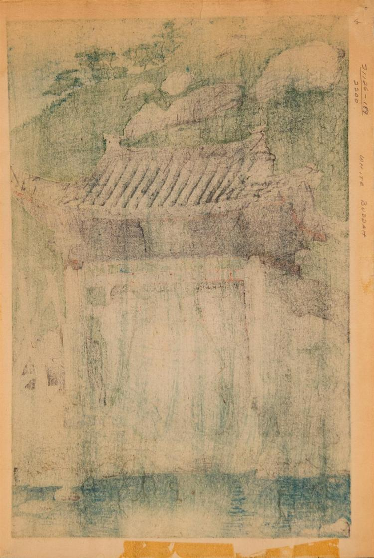 ELIZABETH KEITH, (American, 1887-1970), WHITE BUDDHA, 1925, woodblock print in colors, plate: 9 3/4 x 14 3/4 in. (sheet: 11 x 16 in....