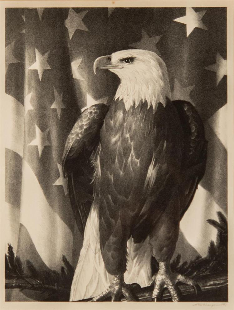 STOW WENGENROTH, (American, 1906-1978), BIRD OF FREEDOM, 1946, lithograph, plate: 15 1/2 x 11 3/4 in. (frame: 24 1/2 x 19 in.)