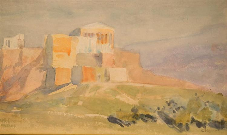 CHARLES CONSTANTINE HOFFBAUER, (American, 1875-1957), THE ACROPOLIS AND PARTHENON FROM PHYNX HILL, ca. 1918, watercolor, sight: 5 1/...