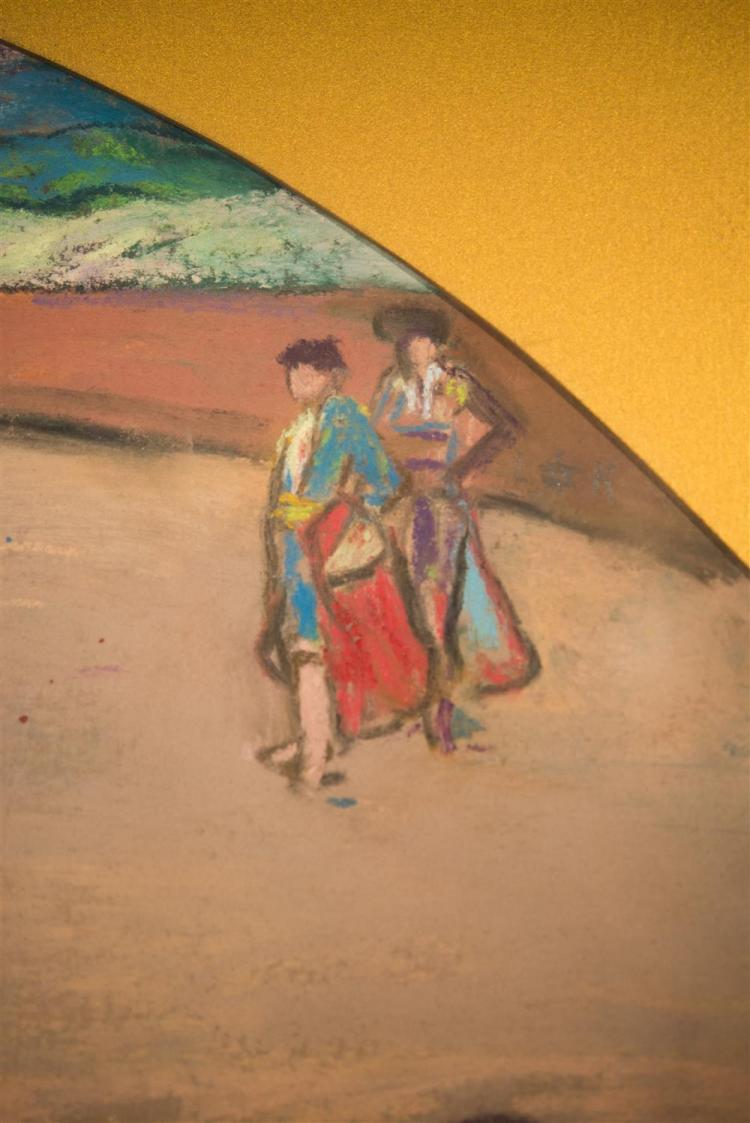 LOUIS KRONBERG, (American, 1872-1965), THE TOREADORS, ca. 1920, pastel on paper, sight: 8 1/2 x 20 1/2 in. (frame: 17 1/2 x 26 1/2 i...
