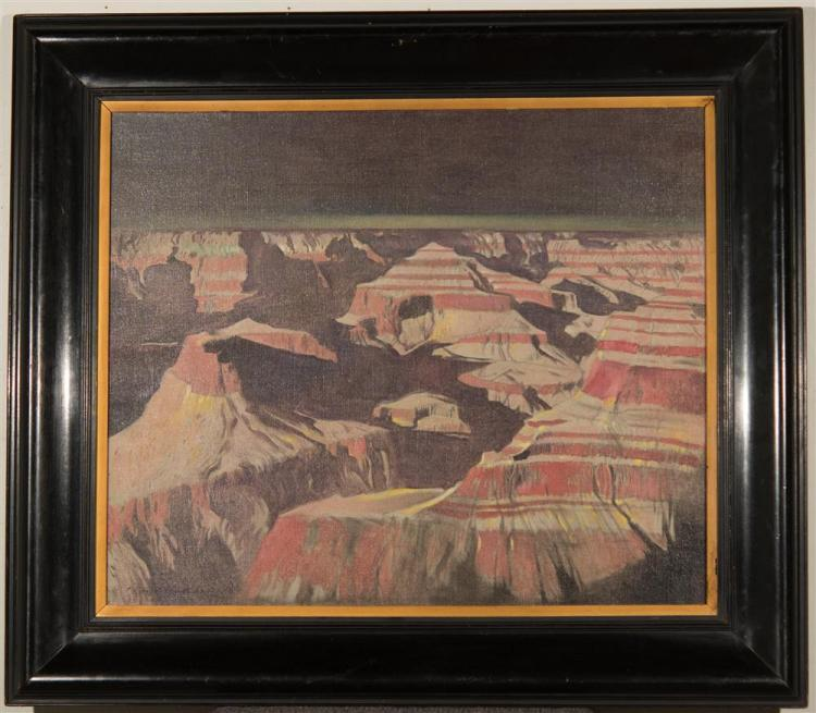 GEORGE HALLOWELL, (American, 1871-1926), GRAND CANYON, ca. 1918, oil on canvas, 25 x 30 in. (frame: 24 1/2 x 39 1/2 in.)