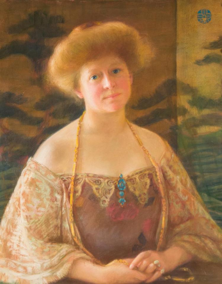 NEW YORK SCHOOL , (late 19th/early 20th century), PORTRAIT OF A LADY, ca. 1900, pastel on paper laid on canvas, sight: 29 x 24 in. (...