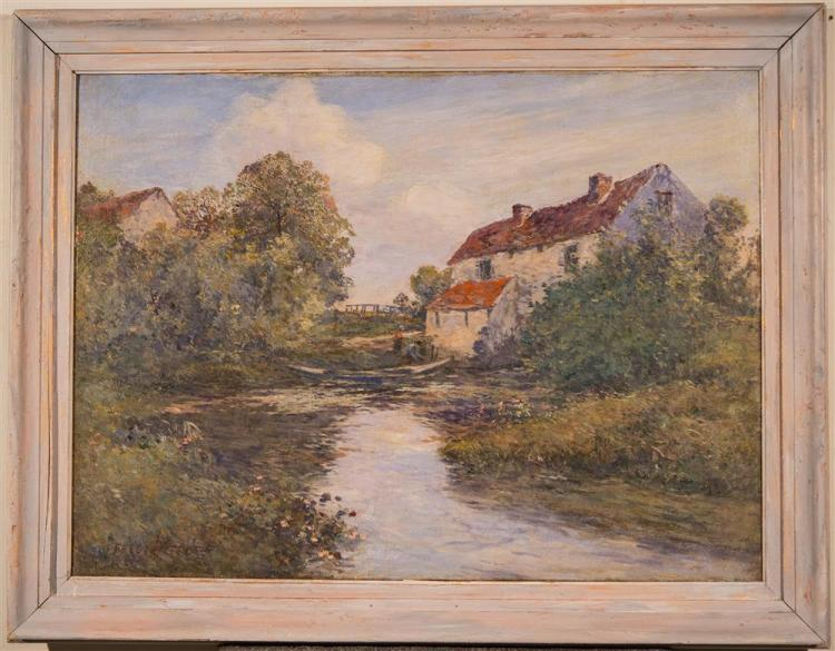 FREDERIC CHARLES VIPOND EDE, (American, 1865-1913), FRENCH RIVER BACKYARD, oil on canvas, 21 1/4 x 28 1/2 in. (frame: 26 1/2 x 34 in...